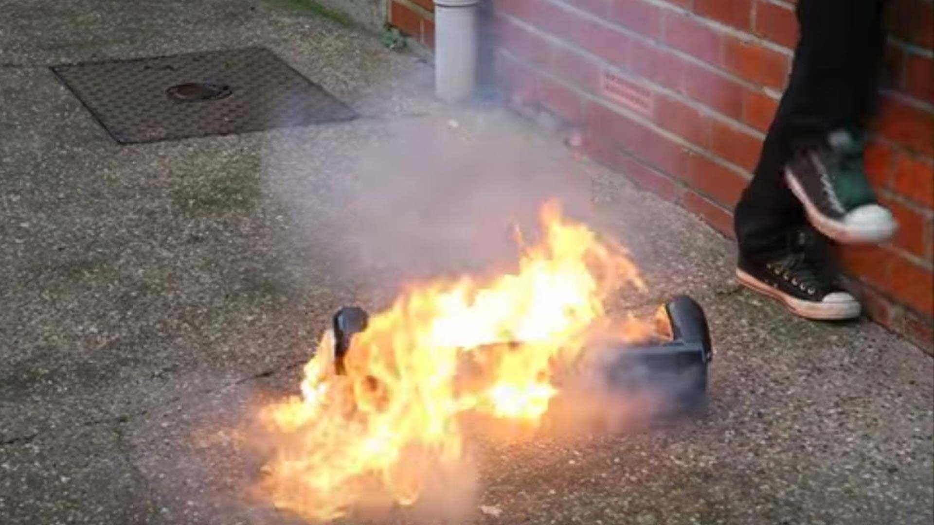 Hoverboard catching fire