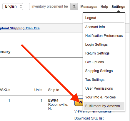 amazon settings FBA inventory placement fee.ong