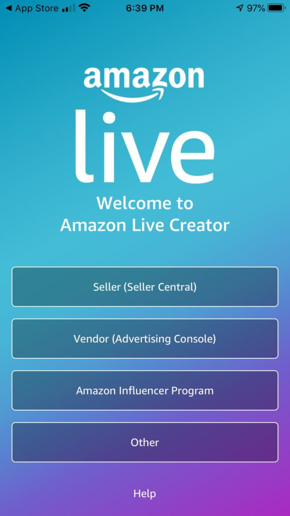 Amazon Live App Signup Page