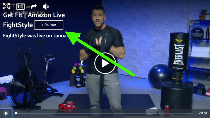 Amazon Live follow Button