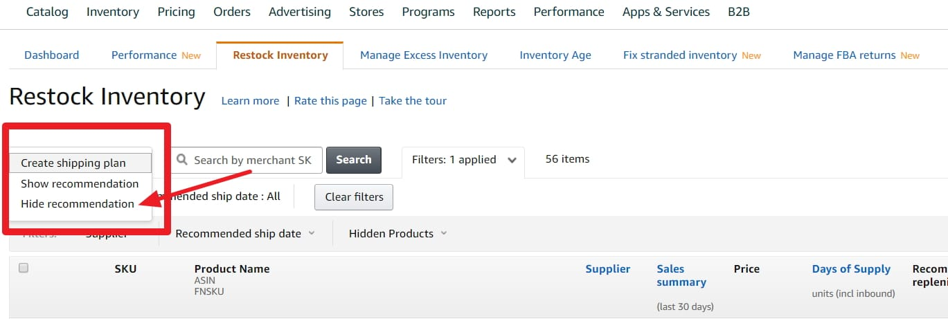 replenish inventory alerts amazon