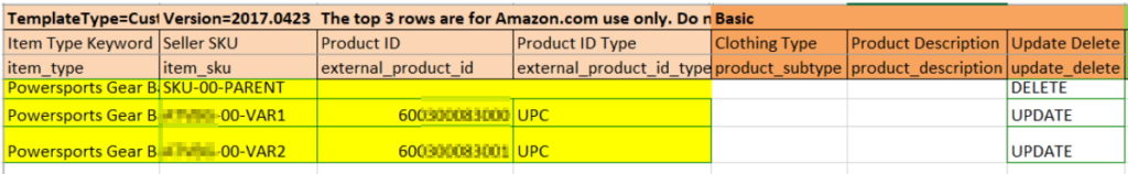 separating amazon variations